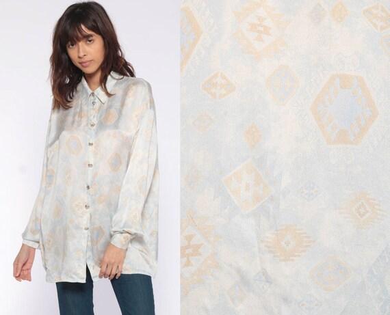 Silk Southwest Shirt Tribal Blouse Button Up Southwestern Shirt 90s AZTEC Top Oversize Boho Vintage Long Sleeve Baby Blue Tan Large