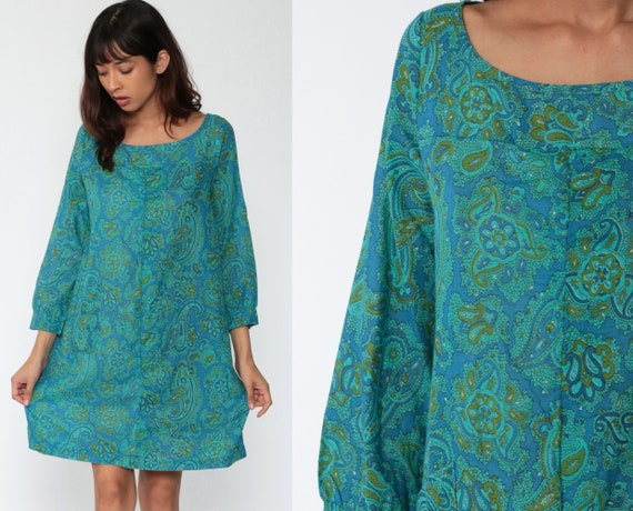 Psychedelic Paisley Dress 60s Mod Mini Dress Shift Boho Twiggy Blue Green Vintage Pleat Minidress 70s Long Sleeve Small