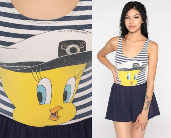 Tweety Bird Swimsuit 90s Looney Tunes Bathing Suit Boy Shorts Disney One Piece Swim Suit Sailor Nautical Swimsuit Vintage Striped Small