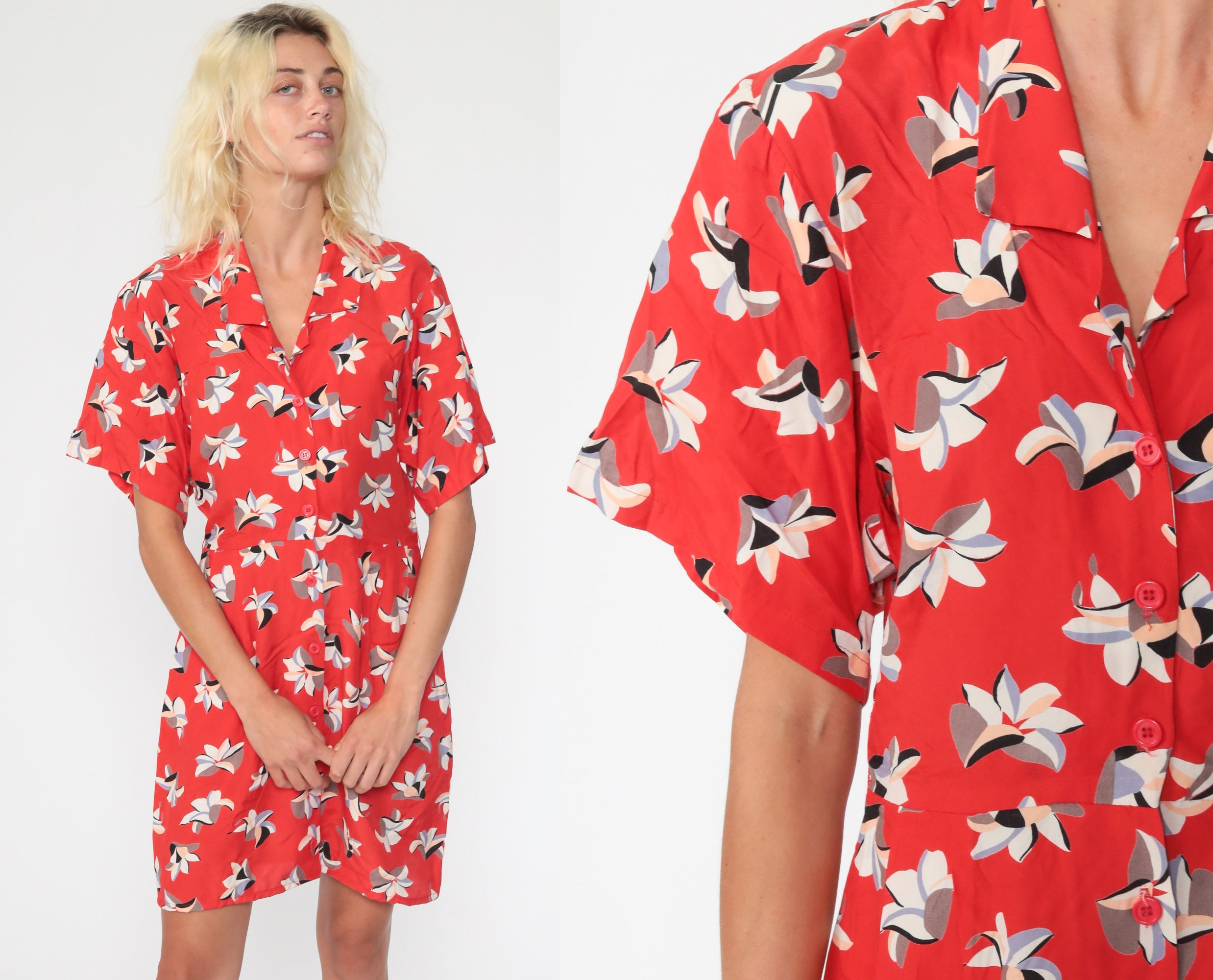 80s Dresses | Casual to Party Dresses Red Floral Dress Kimono Sleeve Mini Button Up 80S Vintage Boho Secretary Shirtwaist High Waisted Short 1980S Collar Small $37.80 AT vintagedancer.com