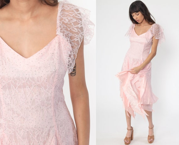 Pink Lace Dress 80s GLITTER Dress Party High Low Dress Flutter Sleeve Midi 1980s Bridesmaid Cocktail Vintage Formal Medium