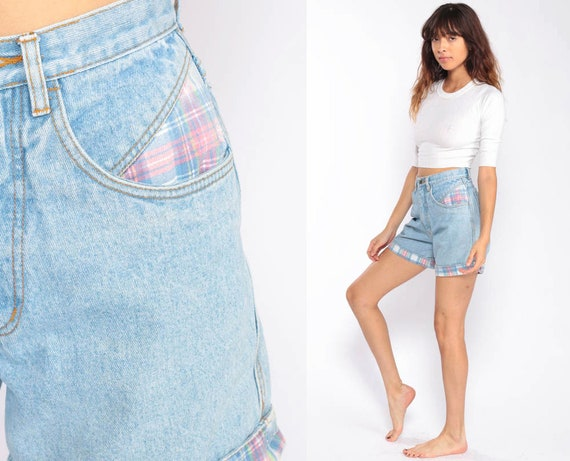 Denim Shorts High Waisted PLAID Shorts Blue 90s Jean Shorts Mom Shorts Grunge Jeans Vintage High Rise Extra Small xs 2 26