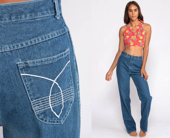 High Waisted Jeans 70s Denim Pants Straight Leg Bohemian Blue Jeans 80s Vintage Wide Leg Jeans Hipster Boho Hippie Extra Small xs 2 26
