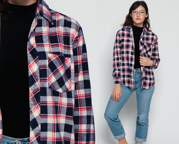 Flannel Shirt Button Up 70s Navy Blue Plaid Red White Checkered Long Sleeve 1970s Lumberjack Vintage Grunge Hipster Women Men Small