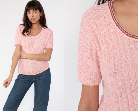 Pink Knit Shirt Short Sleeve Sweater Top Retro Top Textured Shirt 70s Sweater Ringer 1970s Top Vintage Medium Large