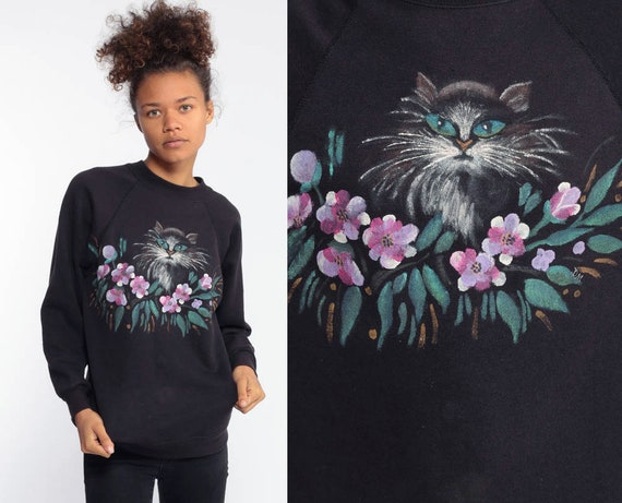 Hand Painted Cat Sweatshirt Kitten Sweater 80s Animal Vintage Raglan Sleeve 90s Graphic KITTY Top Black Novelty Print Kawaii Extra Small xs