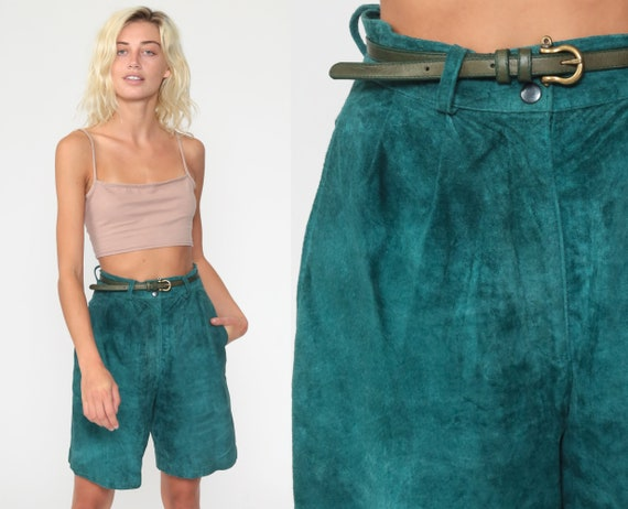 Green Suede Shorts 80s Mom Shorts Baggy PLEATED Leather High Waisted Retro Boho Hippie 90s Vintage Bohemian Cuffed Small 26 4