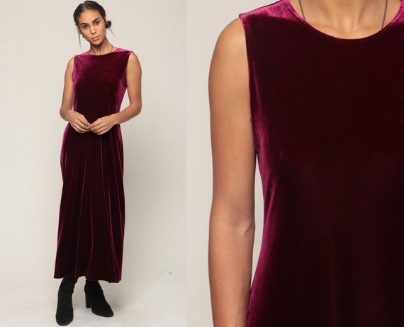 Velvet Dress 90s Maxi WINE Red Goth Grunge Party Sleeveless Sheath 1990s Gothic Vintage Ankle Length Medium