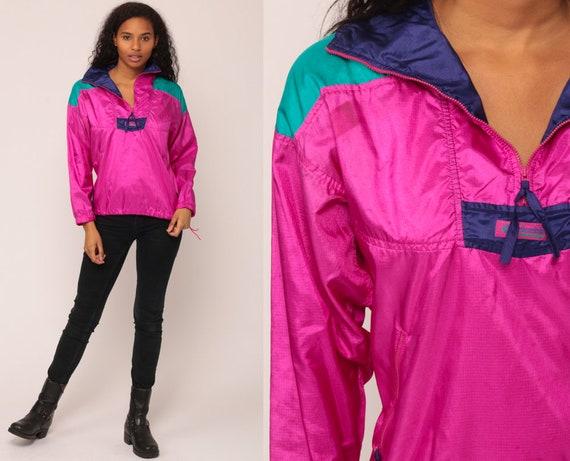 Columbia Windbreaker Jacket 90s Pullover Half Zip Coat Neon Hipster Fuchsia Hiking Jacket Vintage Shell Jacket Small