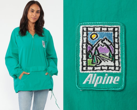 Hooded Windbreaker Jacket Alpine Mountain Jacket Green Hiking Pullover Jacket 90s Hoodie Outdoors Vintage 1990s Cotton Hood Large