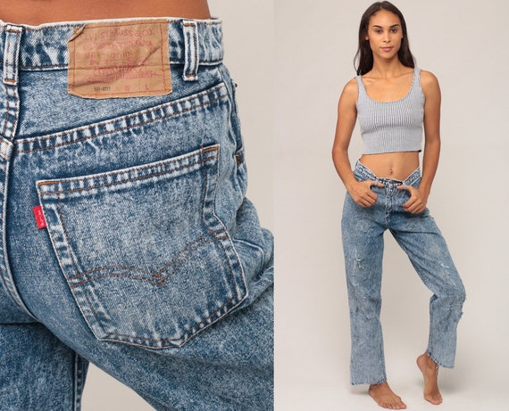 Levis Jeans Acid Wash Denim Pants High Waist Jeans 80s Mom Jeans DISTRESSED Skinny Levi 1980s Vintage Straight Leg Hipster Small 6 28
