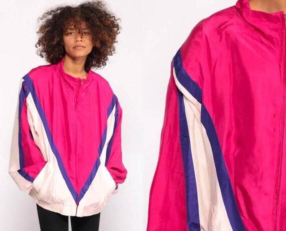 Silk Windbreaker Jacket 80s Color Block Hot Pink Jacket Chervon Striped Jacket Retro Bright Jacket Hipster Vintage 90s Preppy Large