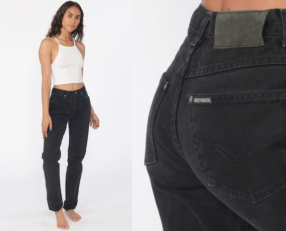 90s Black Jeans 27 -- HARLEY DAVIDSON Jeans 1990s Tapered Mom Jeans Denim Pants High Waisted Grunge Black 1990s Vintage Mom Jeans Small 4