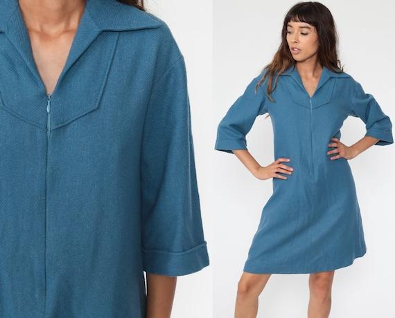 Blue Wool Dress 60s Mod Mini Dress 70s Twiggy Shift Front Zip Up Long Sleeve Sixties Vintage Long sleeve Plain Go Go Medium 8