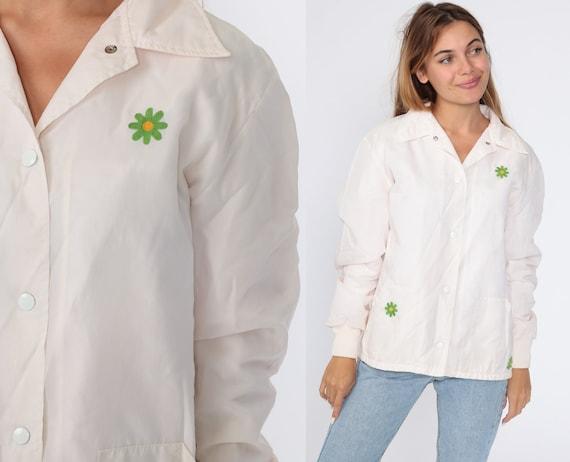 Floral Windbreaker Jacket 70s White Daisy Jacket Flower Power Jacket Hippie Boho Vintage 1970s Medium Large