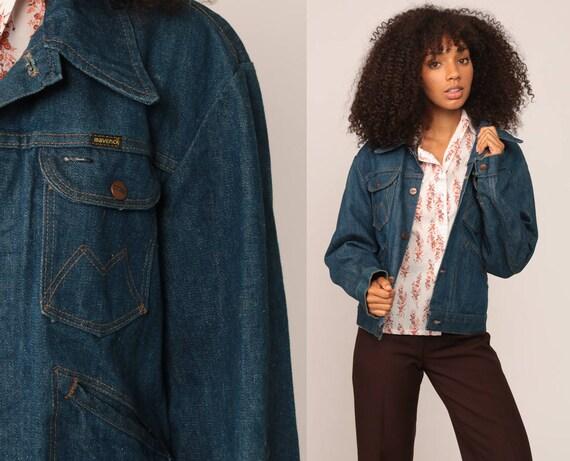 Denim Jacket 70s Jean Jacket Boho Blue Biker Normcore Vintage Oversized Bohemian 1970s Hipster Button Up Medium