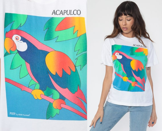 Tropical Bird Shirt Acapulco PARROT Tshirt Bird Tee 90s Tshirt Vintage Retro T Shirt Tee 1990s Graphic Print Medium