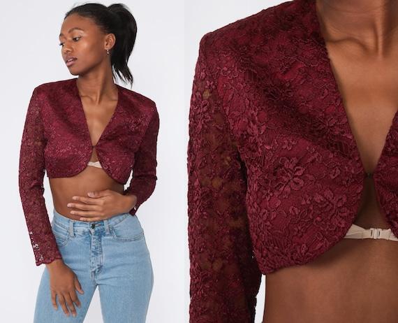 Lace Crop Top 90s Burgundy Shirt Long Sheer Sleeve Blouse 1990s Vintage CROPPED Goth Shirt Bolero Jacket Small