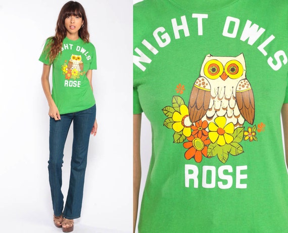 Night Owl Shirt 70s TShirt NIGHT OWLS ROSE T Shirt Graphic Tee Hippie Boho Retro Vintage 1970s Bohemian Shirt Green Extra Small xs
