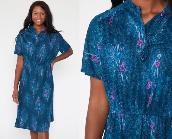 Blue Floral Dress xl 70s Midi Dress Bohemian Vintage High Waisted Short Sleeve Romantic Summer Vtg Dress Extra Large xl