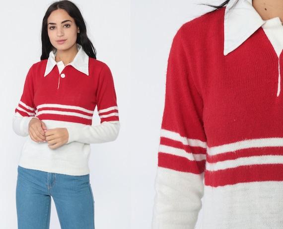 70s Striped Sweater Red White Polo Sweater Grunge Knit Retro Stripe Print Slouchy 1970s Vintage Pullover Jumper Button Up Small