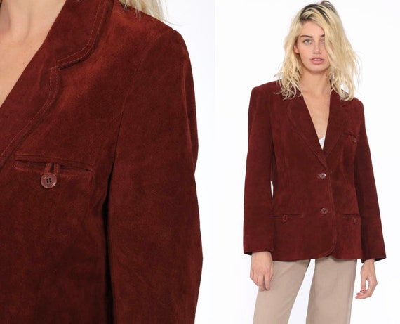 Leather Blazer Jacket Brown SUEDE Jacket 70s 80s Bohemian Chocolate 1970s Boho Hippie Coat Vintage Hipster Collared Button Up Small