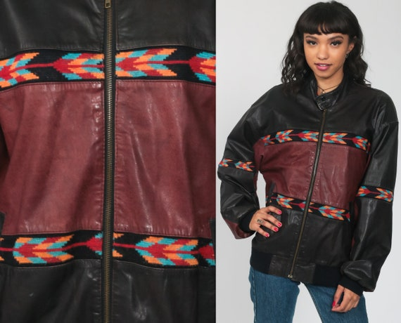 Black Leather Jacket 90s Southwest MOTORCYCLE Biker Jacket 1990s Vintage Moto Punk Rock Burgundy Southwestern Coat Zippered Medium Large
