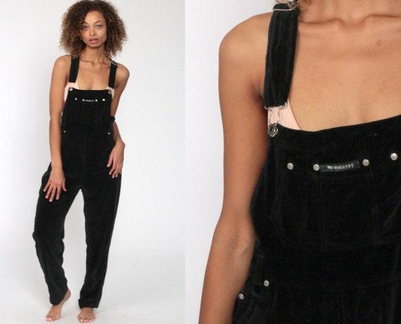 Black Velvet Overalls Women 90s No Excuses Suspender Pants Bib Overalls 1990s Vintage Retro Y2K Dungarees Coveralls Medium