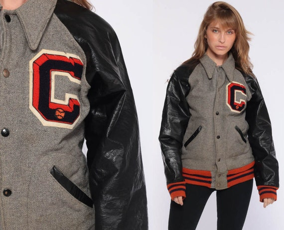 Grey Letterman Jacket Varsity Jacket WOOL Jacket 70s Football Coat C Faux Leather Coach Jacket College Sports Vintage Extra Small xs s