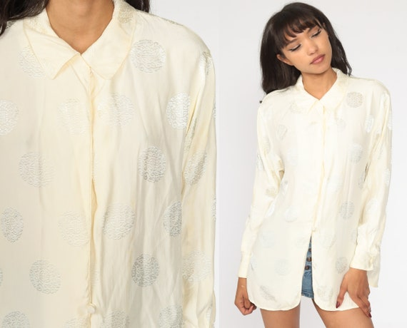 Silk Blend Shirt DVF Blouse Cream Button Up Shirt 80s Shirt Diane von Furstenberg Party Long Sleeve Top Vintage Asian Chinese Extra Small xs