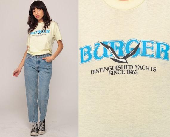 Burnout Tee Shirt BURGER YACHTS Shirt Boat Shirt Graphic Tee Seagull Paper Thin Retro TShirt Vintage T Shirt 80s Tee Print Large