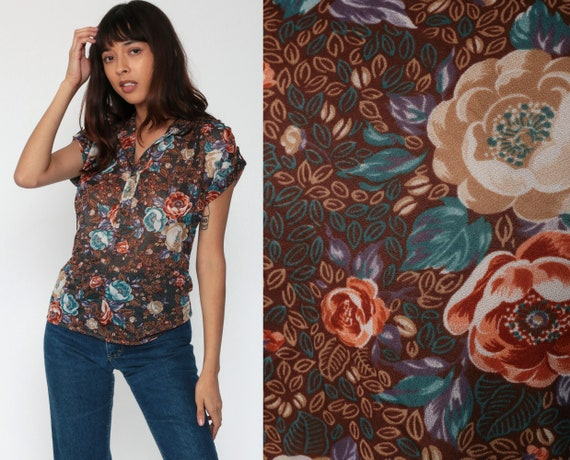 70s Floral Blouse Brown Boho Blouse 70s Top Button Up Shirt Cap Sleeve Top Bohemian Summer Bohemian Vintage 1970s Collared Small Medium