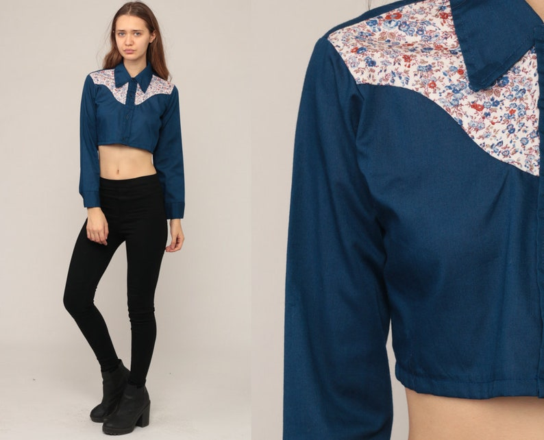 544343f5b Floral Crop Top Western Shirt 70s Blouse Blue Cowboy Shirt