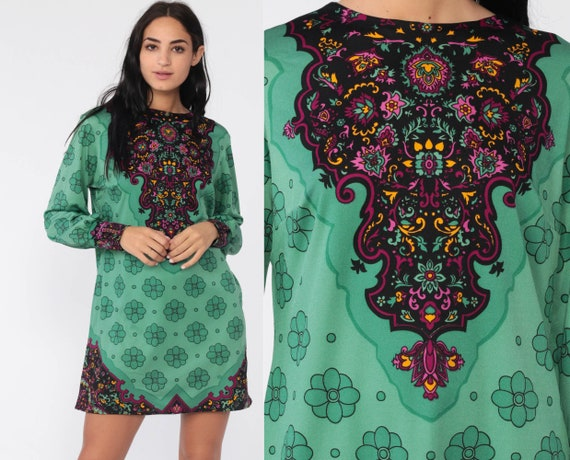70s Psychedelic Dress 60s Shift Green Mod Mini Boho Floral Geometric Long Sleeve Minidress Vintage 1970s Twiggy Bohemian Acid Medium Large