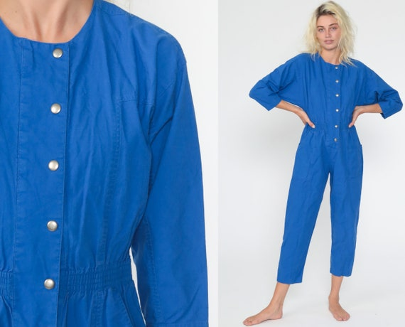 DVF Royal Blue Jumpsuit 80s Diane Von Furstenberg Button Up Tapered Leg Pants Plain Cotton Pantsuit Vintage Long Sleeve 1980s Small