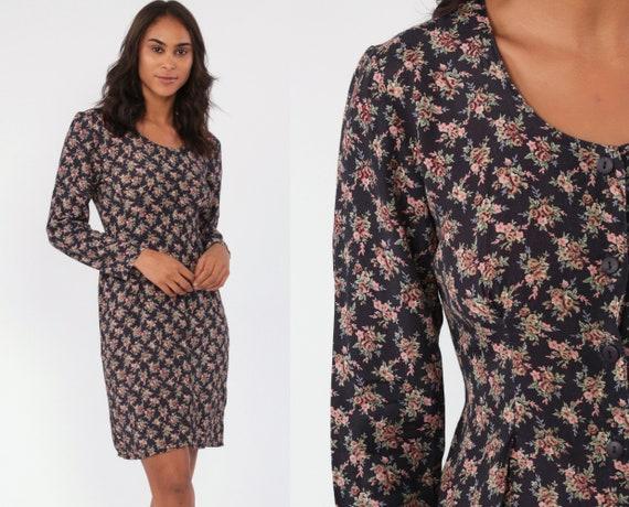 90s Mini Dress Grunge Floral Dress Button Up 1990s Rayon Vintage Long Sleeve Minidress Sheath Small 4