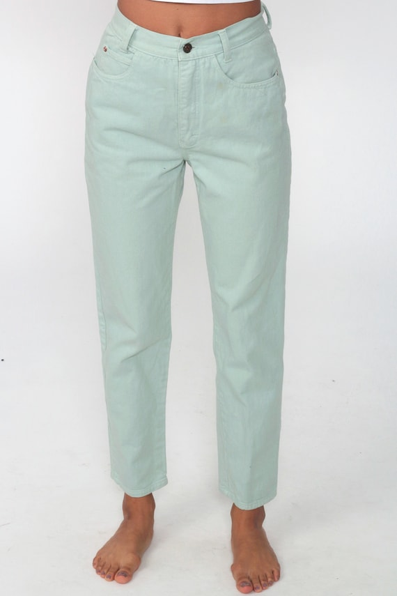 Mint Pastel Jeans XS -- Tapered Leg 90s Jeans Mom… - image 6