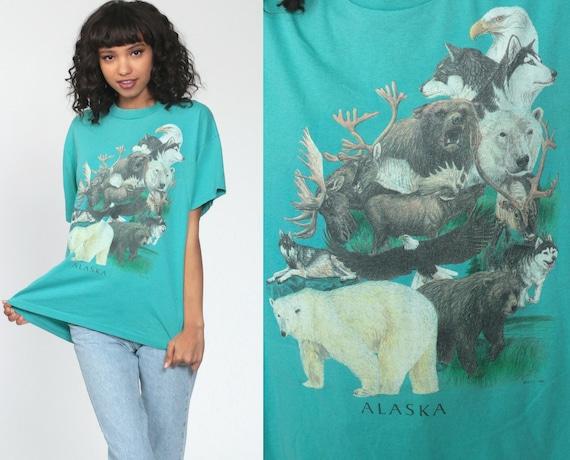 Alaska Animal Shirt EAGLE BEAR WOLF TShirt 90s Animal T Shirt Graphic Moose Tshirt 80s Tee Wildlife Turquoise Single Stitch Medium Large