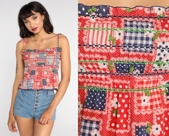 Floral Tank Top 70s Smocked Shirt Red Boho Crop Top Peasant Bohemian Shirt Hippie Spaghetti Strap Shirt 1970s Patchwork Blue Small xs s