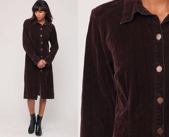 Brown Velvet Dress 90s Party Grunge Dress Long Sleeve Button Up 1990s Vintage Minidress Shift Small