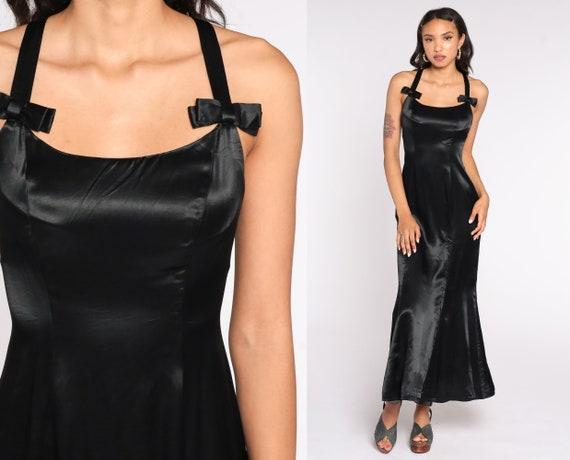 Black Satin Dress 90s Maxi Party Dress Criss Cross Back Dress Prom Formal Dress Long Vintage 1990s Club Cocktail Silky Extra Small xs