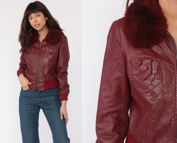 Leather Bomber Jacket 70s FAUX FUR Coat Burgundy Leather Hippie Jacket Flight Jacket Moto Boho 1970s Bohemian Seventies Extra Small xs