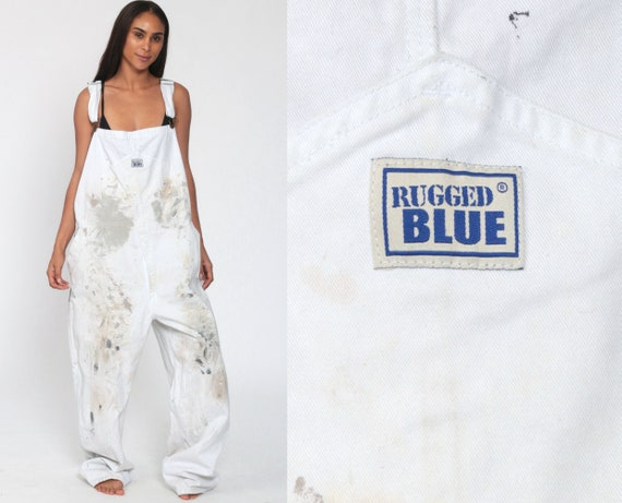 Painter Overalls 2XL -- 90s PAINT SPLATTERED Workwear Grunge Baggy Bib White Cotton Pants Work Wear Long 1990s Cargo Vintage Extra Large XL