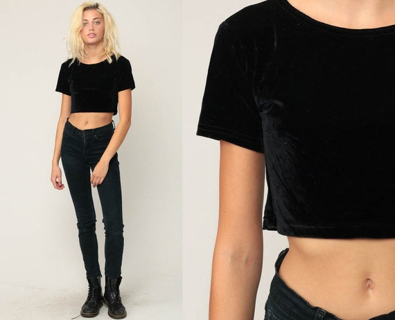 Black Velvet Shirt Crop Top Blouse Gothic Shirt 90s Hipster Party Simple Plain Short Sleeve Cropped Shirt Extra Small xs