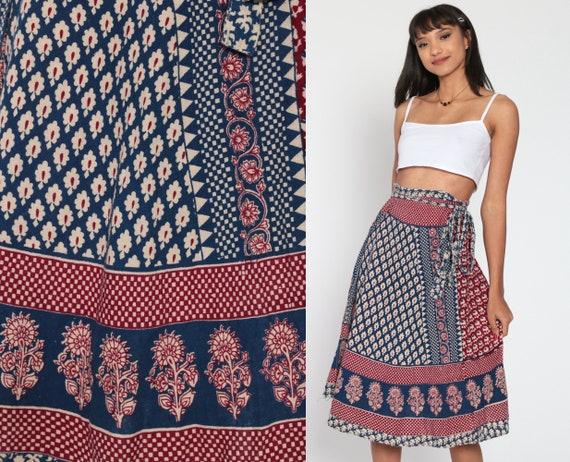 Indian Wrap Skirt Batik Skirt Hippie 70s Boho Midi 1970s Ethnic Cotton Floral Bohemian High Waisted Festival Blue Red Small Medium xs