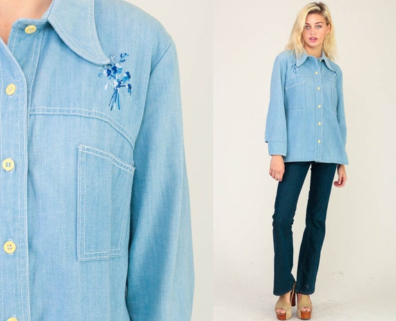 Denim Shirt 70s Blue Jean Shirt EMBROIDERED BEE Floral Western Hippie Button Up 1970s Long Sleeve Vintage Hipster Boho Retro Medium Large