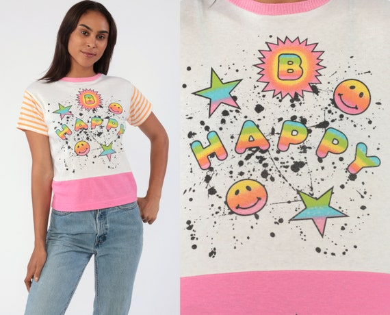 B Happy Shirt Rainbow Smiley Face Shirt 90s Graphic Tee Pink 1990s TShirt Mood Top T-Shirt Small
