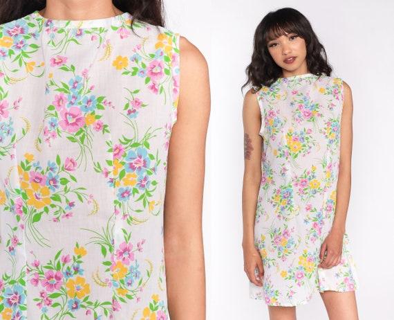 60s Mini Dress Floral Shift Mod Hippie 70s Boho FLOWER POWER Gogo Vintage 1970s Sleeveless Go Go Bohemian White Medium Large