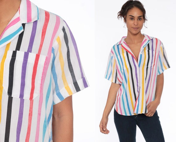 80s Rainbow Striped Shirt Button Up Blouse 1980s Top Button Up Shirt Kawaii Shirt Short Sleeve Top Vintage Pink Retro White Medium