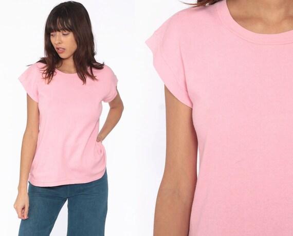 Pink Short Sleeve Sweatshirt 80s Shirt Slouchy Sweatshirt Baby Pink Pastel Retro 1980s Top Vintage Plain Cap Sleeve Normcore Small